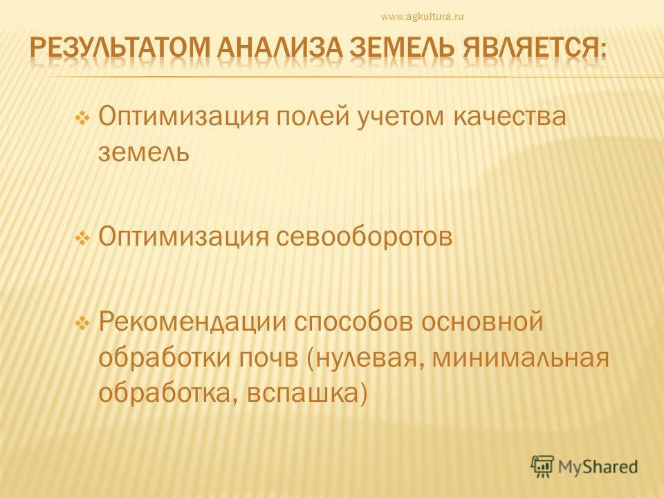 Оптимизация полей учетом качества земель Оптимизация севооборотов Рекомендации способов основной обработки почв (нулевая, минимальная обработка, вспашка) www.agkultura.ru