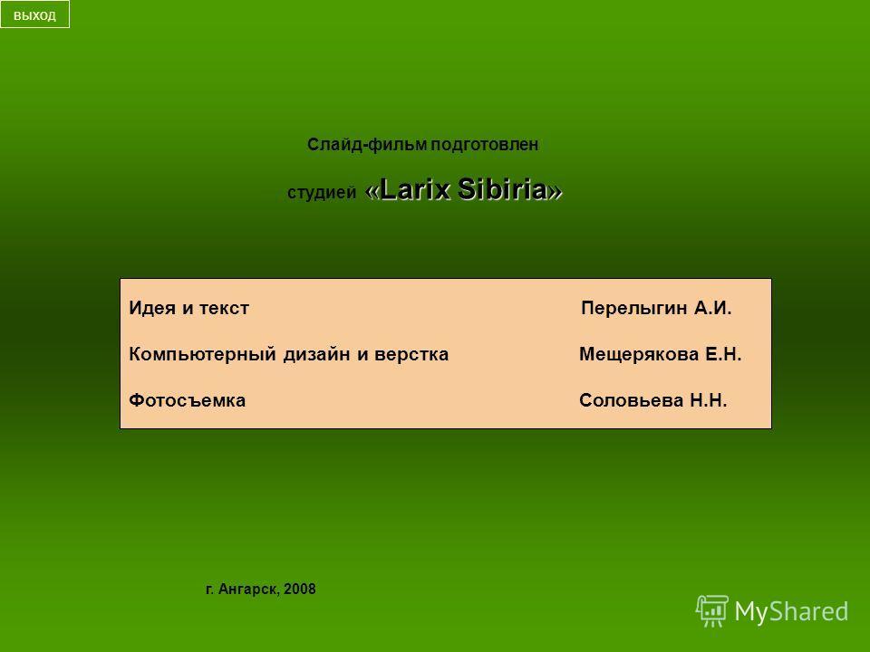 г. Ангарск, 2008 Слайд-фильм подготовлен «LarixSibiria» студией «Larix Sibiria» выход Идея и текст Перелыгин А.И. Компьютерный дизайн и верстка Мещерякова Е.Н. Фотосъемка Соловьева Н.Н.