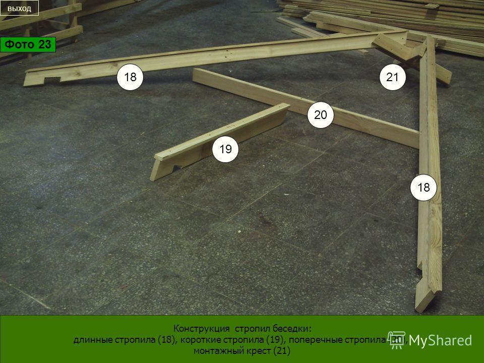 20 19 18 21 Конструкция стропил беседки: длинные стропила (18), короткие стропила (19), поперечные стропила (20), монтажный крест (21) выход Фото 23