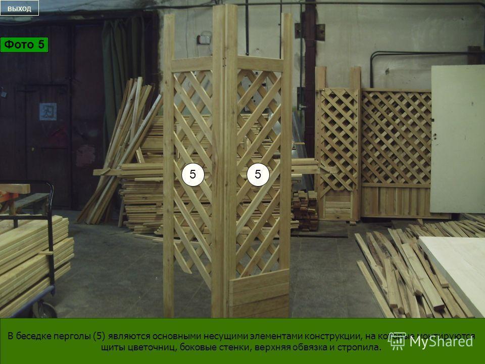 55 В беседке перголы (5) являются основными несущими элементами конструкции, на которые монтируются щиты цветочниц, боковые стенки, верхняя обвязка и стропила. выход Фото 5