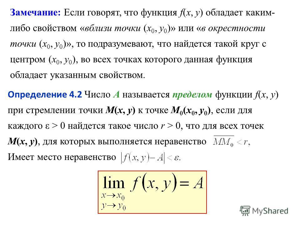 Замечание: Если говорят, что функция f(x, y) обладает каким- либо свойством «вблизи точки (х 0, у 0 )» или «в окрестности точки (х 0, у 0 )», то подразумевают, что найдется такой круг с центром (х 0, у 0 ), во всех точках которого данная функция обла