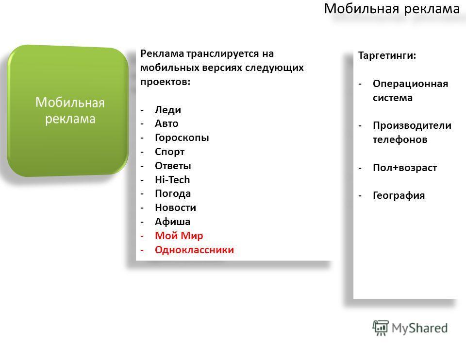 Таргетинги: -Операционная система -Производители телефонов -Пол+возраст -География Таргетинги: -Операционная система -Производители телефонов -Пол+возраст -География Реклама транслируется на мобильных версиях следующих проектов: -Леди -Авто -Гороскоп