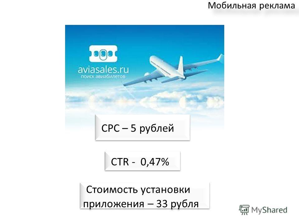 Мобильная реклама CTR - 0,47% Стоимость установки приложения – 33 рубля CPC – 5 рублей