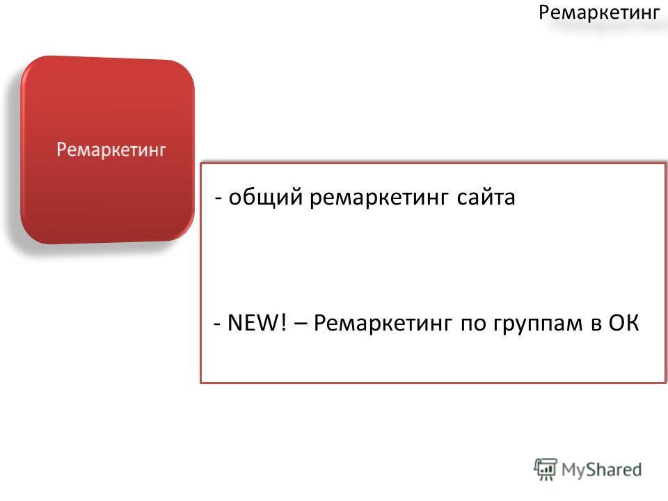 Ремаркетинг - общий ремаркетинг сайта - NEW! – Ремаркетинг по группам в ОК - общий ремаркетинг сайта - NEW! – Ремаркетинг по группам в ОК