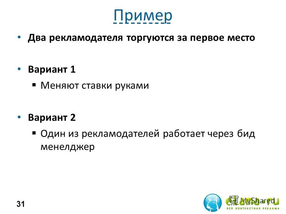 Пример Два рекламодателя торгуются за первое место Вариант 1 Меняют ставки руками Вариант 2 Один из рекламодателей работает через бид менелджер 31