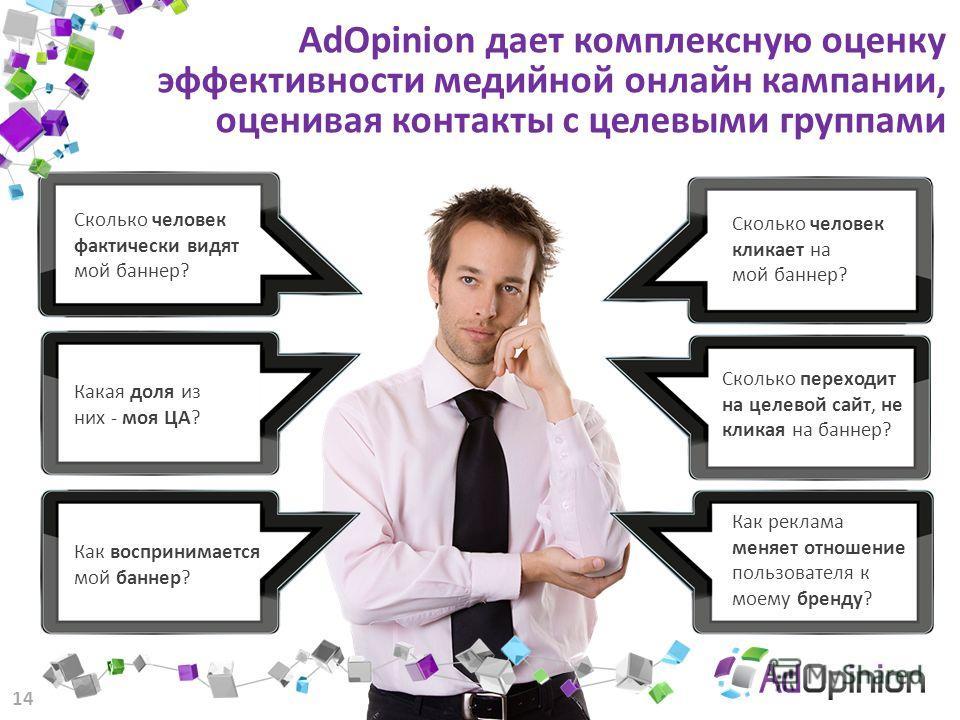 AdOpinion дает комплексную оценку эффективности медийной онлайн кампании, оценивая контакты с целевыми группами Сколько человек кликает на мой баннер? Сколько переходит на целевой сайт, не кликая на баннер? Как реклама меняет отношение пользователя к