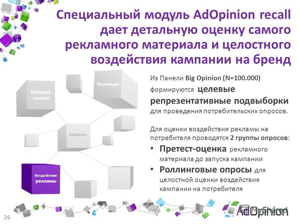 Специальный модуль AdOpinion recall дает детальную оценку самого рекламного материала и целостного воздействия кампании на бренд 26 Из Панели Big Opinion (N=100.000) формируются целевые репрезентативные подвыборки для проведения потребительских опрос