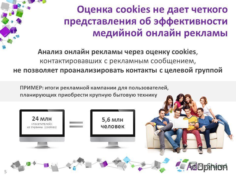 5 Оценка cookies не дает четкого представления об эффективности медийной онлайн рекламы Анализ онлайн рекламы через оценку cookies, контактировавших с рекламным сообщением, не позволяет проанализировать контакты с целевой группой ПРИМЕР: итоги реклам