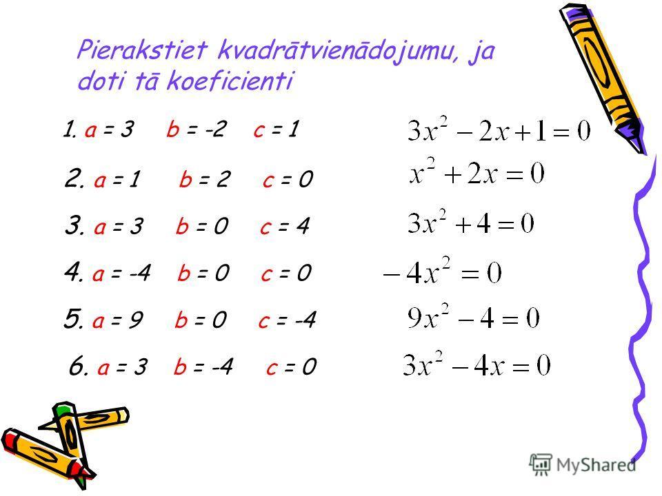 Pierakstiet kvadrātvienādojumu, ja doti tā koeficienti 1. а = 3 b = -2 с = 1 2. а = 1 b = 2 c = 0 3. а = 3 b = 0 с = 4 4. а = -4 b = 0 с = 0 5. а = 9 b = 0 c = -4 6. а = 3 b = -4 c = 0
