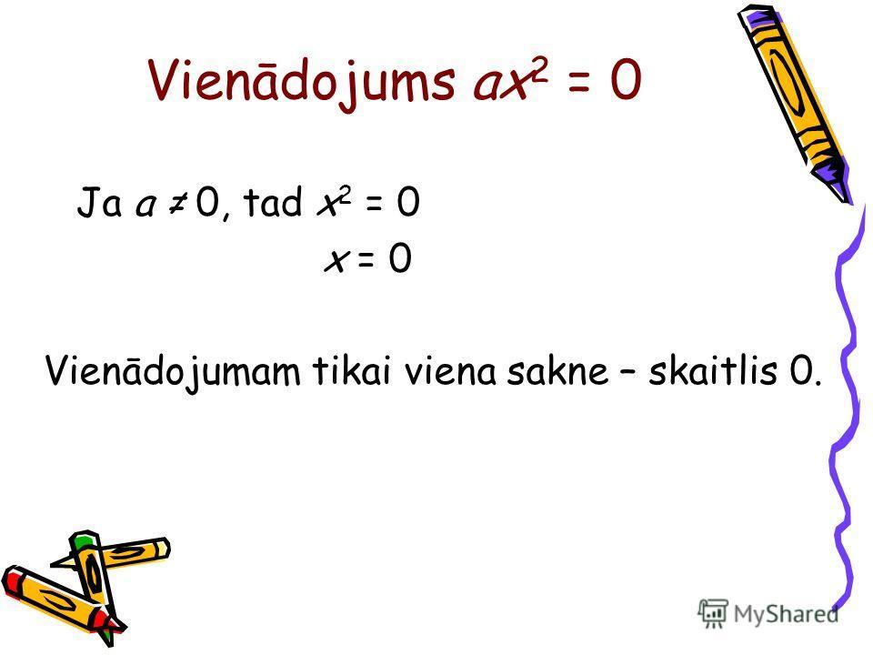 Vienādojums ax 2 = 0 Ja a 0, tad x 2 = 0 x = 0 Vienādojumam tikai viena sakne – skaitlis 0.
