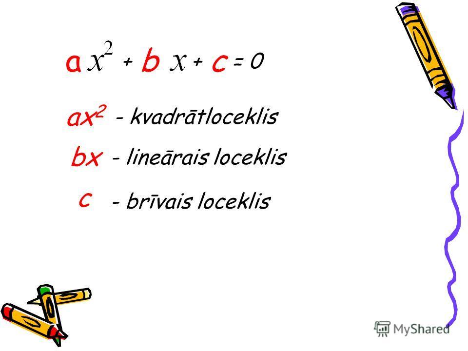 аx2аx2 - kvadrātloceklis bxbx - lineārais loceklis c - brīvais loceklis + b + с = 0 а