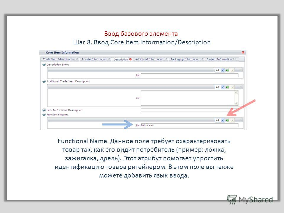 Ввод базового элемента Шаг 8. Ввод Core Item Information/Description Functional Name. Данное поле требует охарактеризовать товар так, как его видит потребитель (пример: ложка, зажигалка, дрель). Этот атрибут помогает упростить идентификацию товара ри