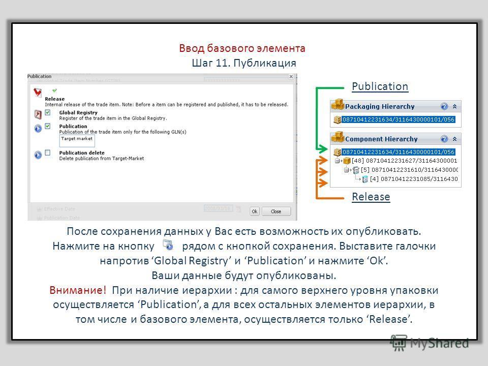 Вставить Ввод базового элемента Шаг 11. Публикация После сохранения данных у Вас есть возможность их опубликовать. Нажмите на кнопку рядом с кнопкой сохранения. Выставите галочки напротив Global Registry и Publication и нажмите Ok. Ваши данные будут