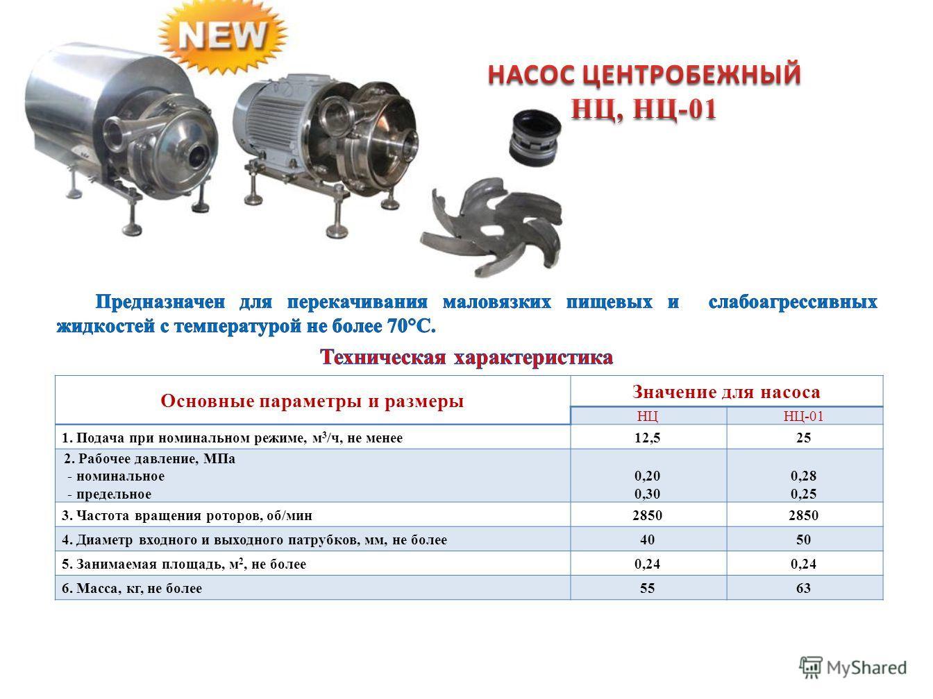 Основные параметры и размеры Значение для насоса НЦНЦ-01 1. Подача при номинальном режиме, м 3 /ч, не менее12,525 2. Рабочее давление, МПа - номинальное - предельное 0,20 0,30 0,28 0,25 3. Частота вращения роторов, об/мин2850 4. Диаметр входного и вы