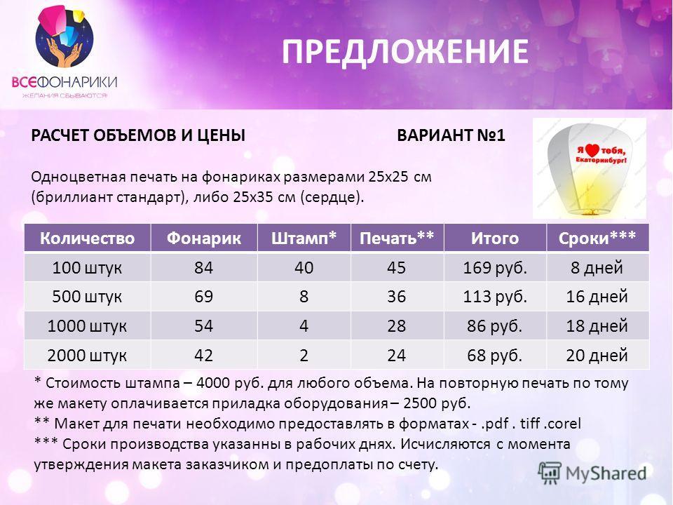 СтоимостьПечатьШтампФонарьДля клиентаСрокиСроки нашиНаши цены 1002530 8058150 5002030 727-1014110 10001830 5012-1418100 20001630 42162090 ПРЕДЛОЖЕНИЕ РАСЧЕТ ОБЪЕМОВ И ЦЕНЫ ВАРИАНТ 1 Одноцветная печать на фонариках размерами 25х25 см (бриллиант станда