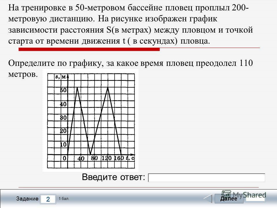 Далее 2 Задание 1 бал. Введите ответ: На тренировке в 50-метровом бассейне пловец проплыл 200- метровую дистанцию. На рисунке изображен график зависимости расстояния S(в метрах) между пловцом и точкой старта от времени движения t ( в секундах) пловца