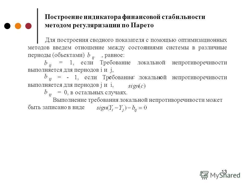 13 Построение индикатора финансовой стабильности методом регуляризации по Парето Для построения сводного показателя c помощью оптимизационных методов введем отношение между состояниями системы в различные периоды (объектами), равное: = 1, если Требов