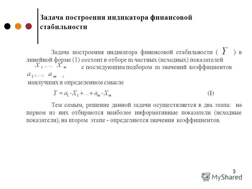 3 Задача построения индикатора финансовой стабильности Задача построения индикатора финансовой стабильности ( ) в линейной форме (1) состоит в отборе m частных (исходных) показателей с последующим подбором m значений коэффициентов, наилучших в опреде