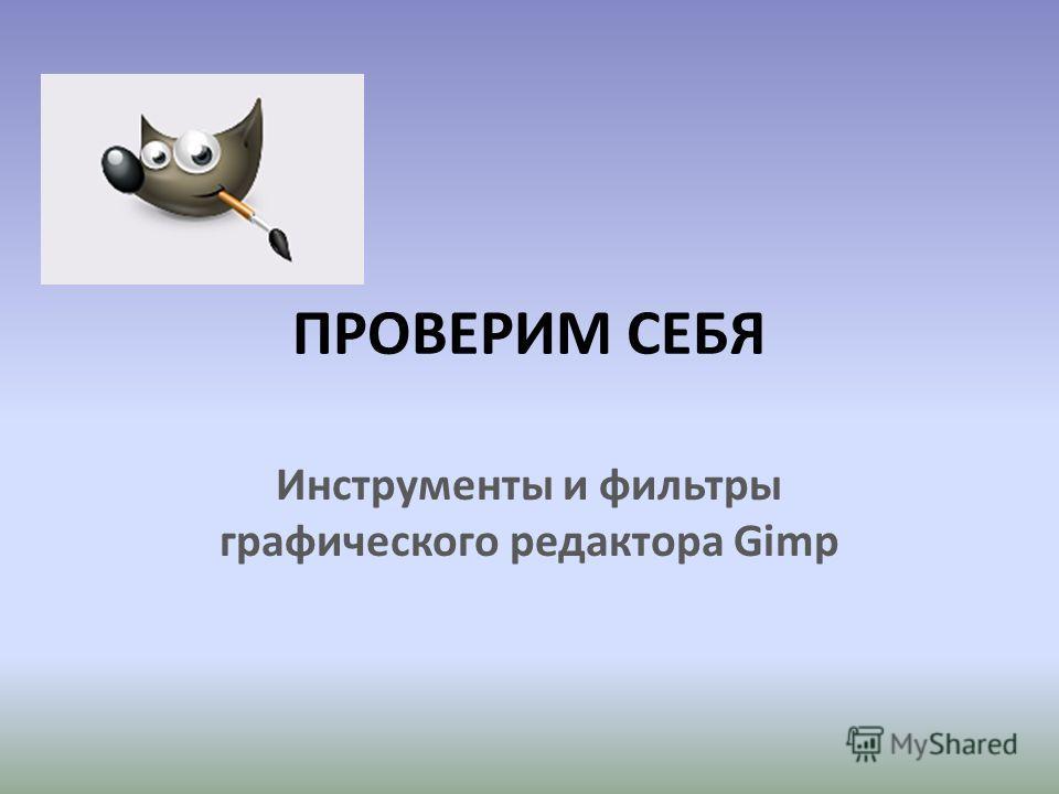 ПРОВЕРИМ СЕБЯ Инструменты и фильтры графического редактора Gimp