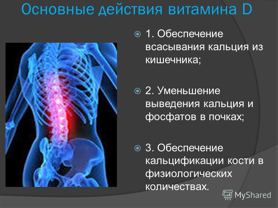Основные действия витамина D 1. Обеспечение всасывания кальция из кишечника; 2. Уменьшение выведения кальция и фосфатов в почках; 3. Обеспечение кальцификации кости в физиологических количествах.