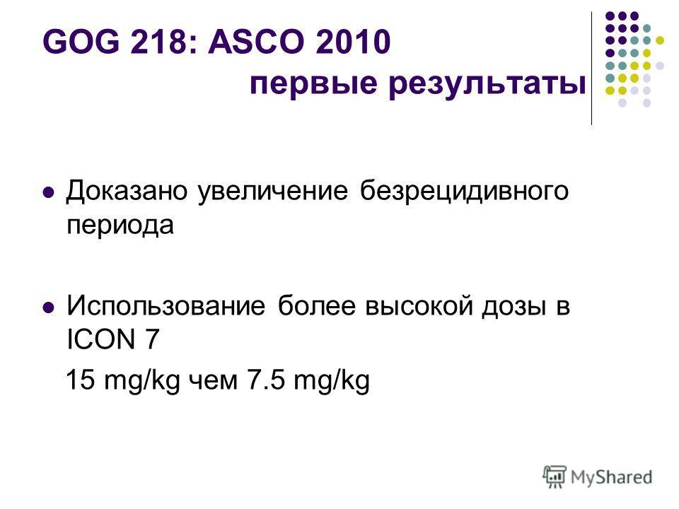 GOG 218: ASCO 2010 первые результаты Доказано увеличение безрецидивного периода Использование более высокой дозы в ICON 7 15 mg/kg чем 7.5 mg/kg