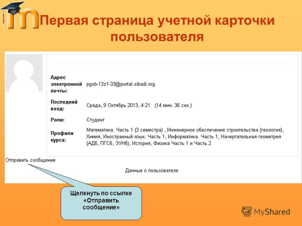 Первая страница учетной карточки пользователя Щелкнуть по ссылке «Отправить сообщение»