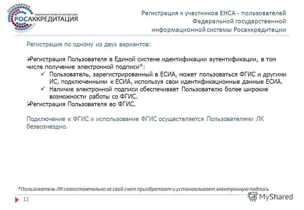 Регистрация к участников ЕНСА - пользователей Федеральной государственной информационной системы Росаккредитации Регистрация по одному из двух вариантов: Регистрация Пользователя в Единой системе идентификации аутентификации, в том числе получение эл