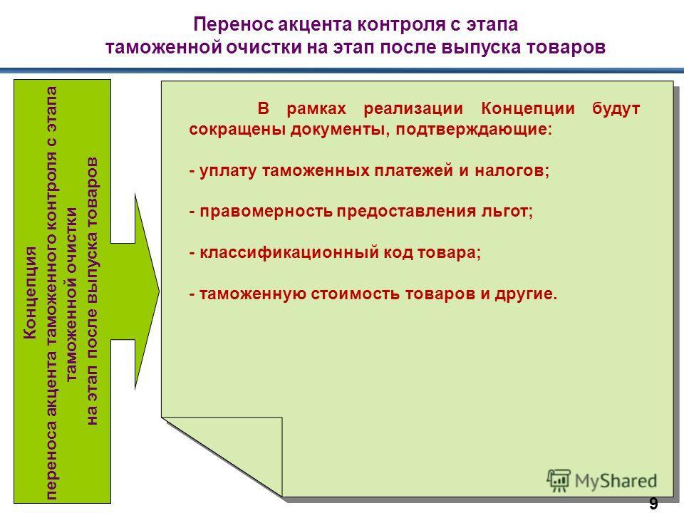 Перенос акцента контроля с этапа таможенной очистки на этап после выпуска товаров В рамках реализации Концепции будут сокращены документы, подтверждающие: - уплату таможенных платежей и налогов; - правомерность предоставления льгот; - классификационн