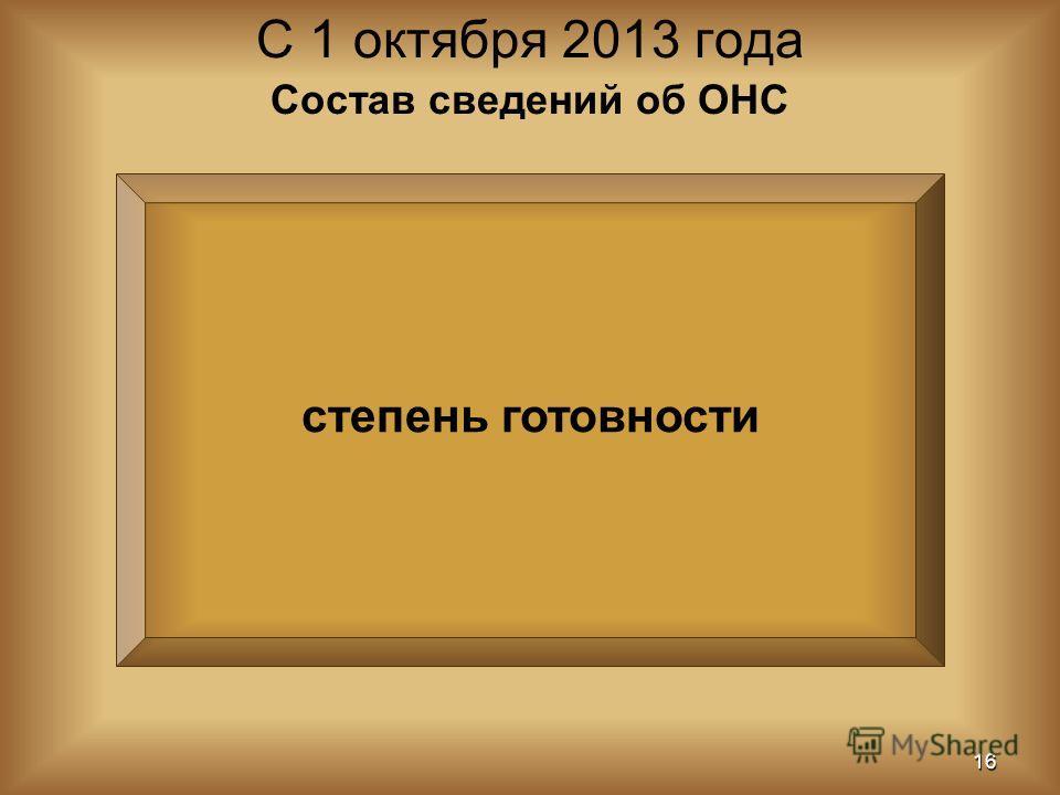 степень готовности С 1 октября 2013 года 16 Состав сведений об ОНС