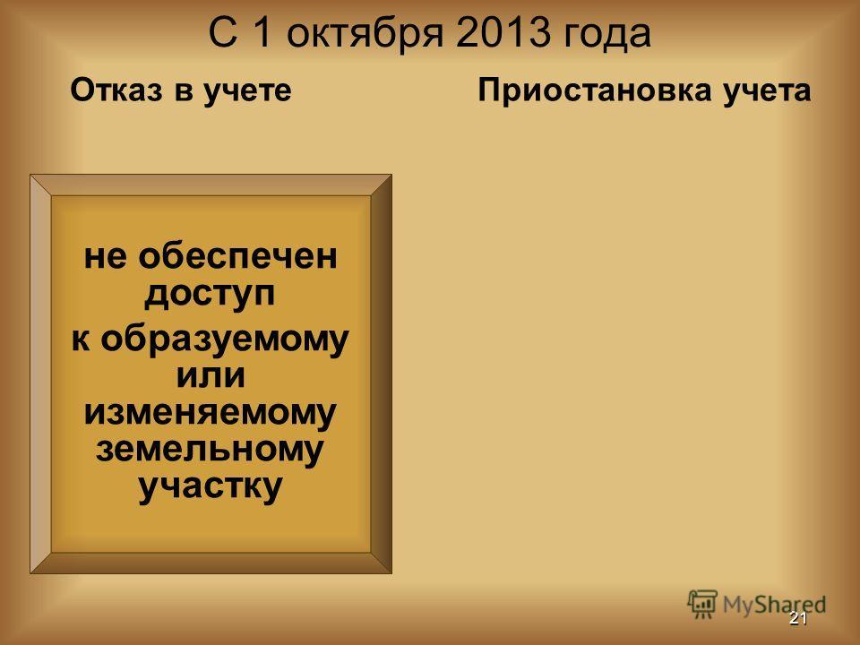 не обеспечен доступ к образуемому или изменяемому земельному участку С 1 октября 2013 года 21 Отказ в учетеПриостановка учета