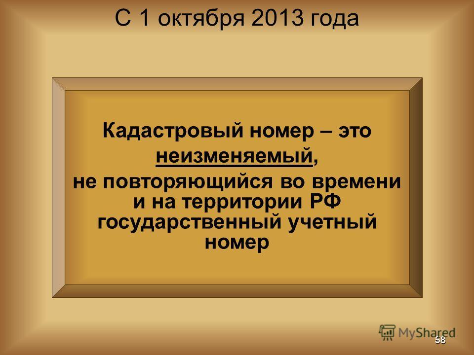 Кадастровый номер – это неизменяемый, не повторяющийся во времени и на территории РФ государственный учетный номер С 1 октября 2013 года 58