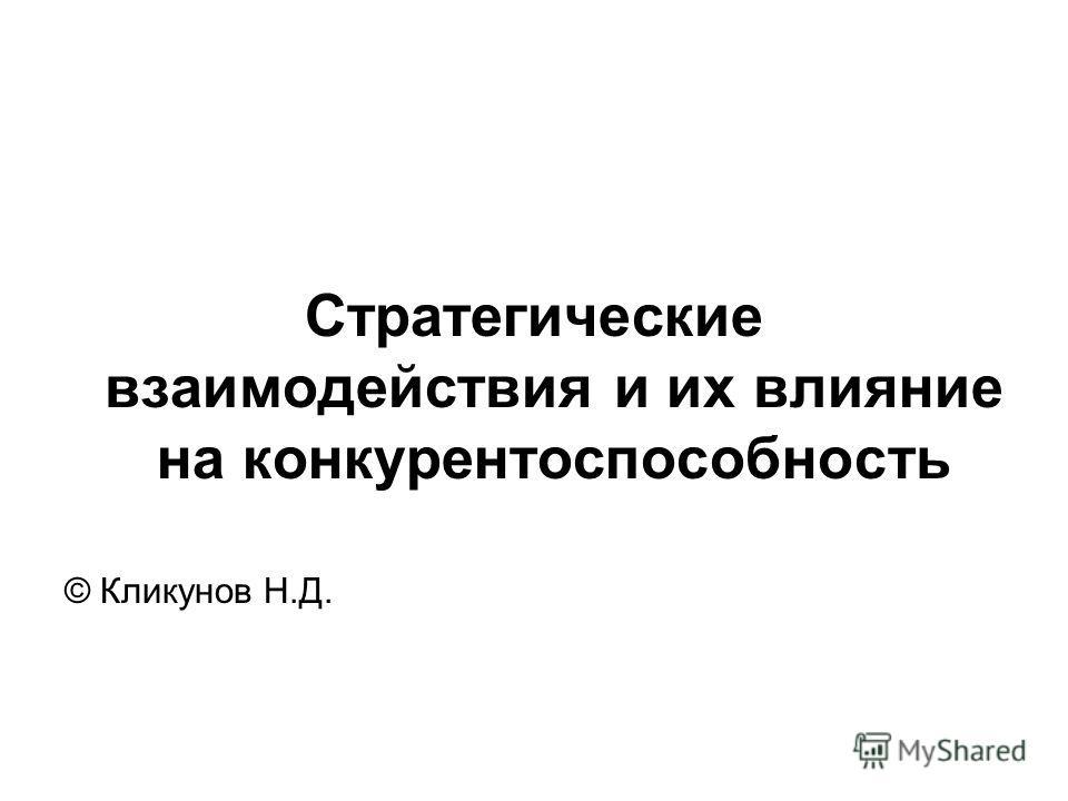 Стратегические взаимодействия и их влияние на конкурентоспособность © Кликунов Н.Д.