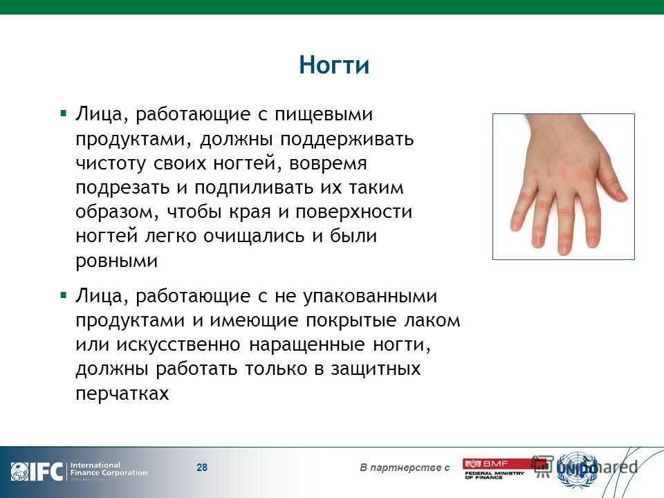 В партнерстве с Ногти Лица, работающие с пищевыми продуктами, должны поддерживать чистоту своих ногтей, вовремя подрезать и подпиливать их таким образом, чтобы края и поверхности ногтей легко очищались и были ровными Лица, работающие с не упакованным