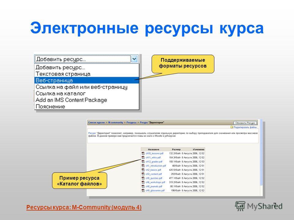 7 Электронные ресурсы курса Пример ресурса «Каталог файлов» Поддерживаемые форматы ресурсов Ресурсы курса: М-Community (модуль 4)