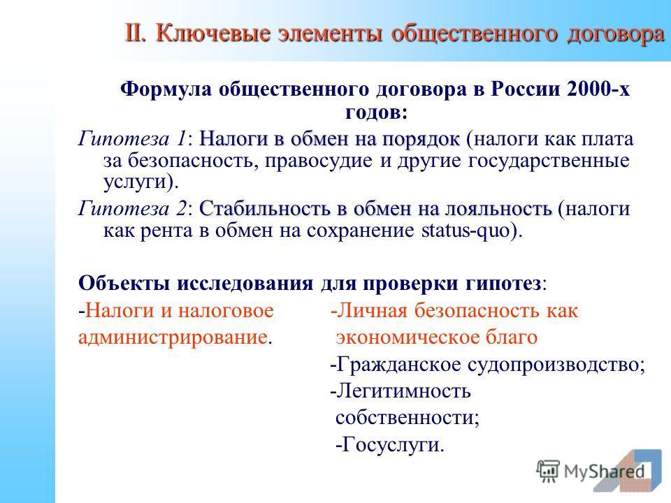 II. Ключевые элементы общественного договора Формула общественного договора в России 2000-х годов: Налоги в обмен на порядок Гипотеза 1: Налоги в обмен на порядок (налоги как плата за безопасность, правосудие и другие государственные услуги). Стабиль