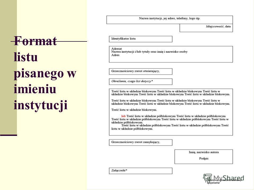 Format listu pisanego w imieniu instytucji