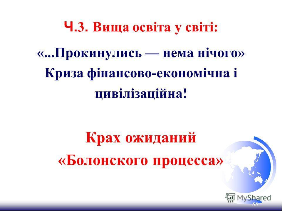 55 Ч. 3. Вища освіта у світі: «...Прокинулись нема нічого» Криза фінансово-економічна і цивілізаційна! Крах ожиданий «Болонского процесса»