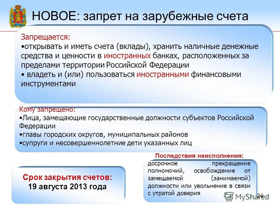 24 НОВОЕ: запрет на зарубежные счета Запрещается: открывать и иметь счета (вклады), хранить наличные денежные средства и ценности в иностранных банках, расположенных за пределами территории Российской Федерации владеть и (или) пользоваться иностранны