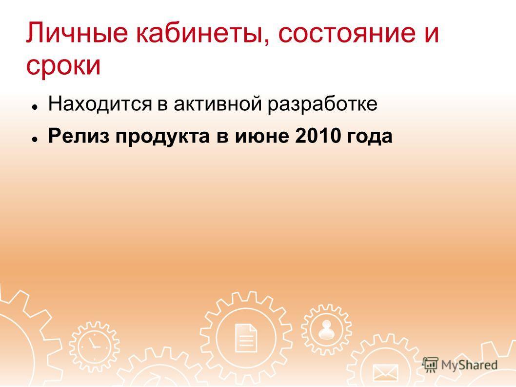 Личные кабинеты, состояние и сроки Находится в активной разработке Релиз продукта в июне 2010 года