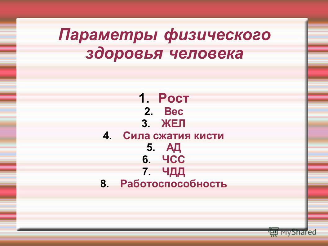 Параметры физического здоровья человека 1.Рост 2.Вес 3.ЖЕЛ 4.Сила сжатия кисти 5.АД 6.ЧСС 7.ЧДД 8.Работоспособность