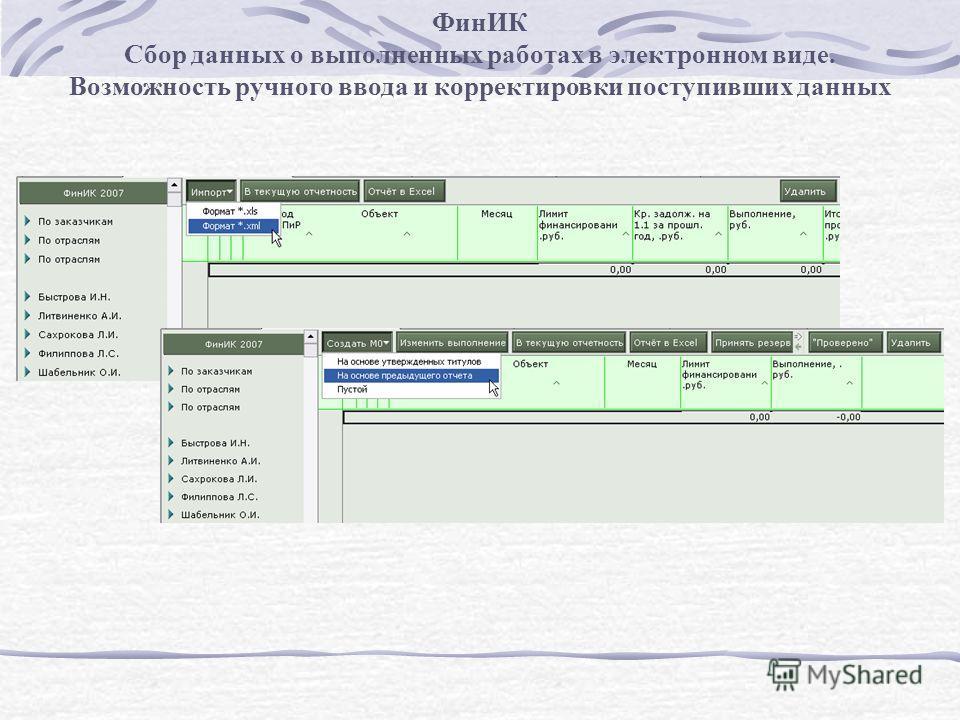 ФинИК Сбор данных о выполненных работах в электронном виде. Возможность ручного ввода и корректировки поступивших данных