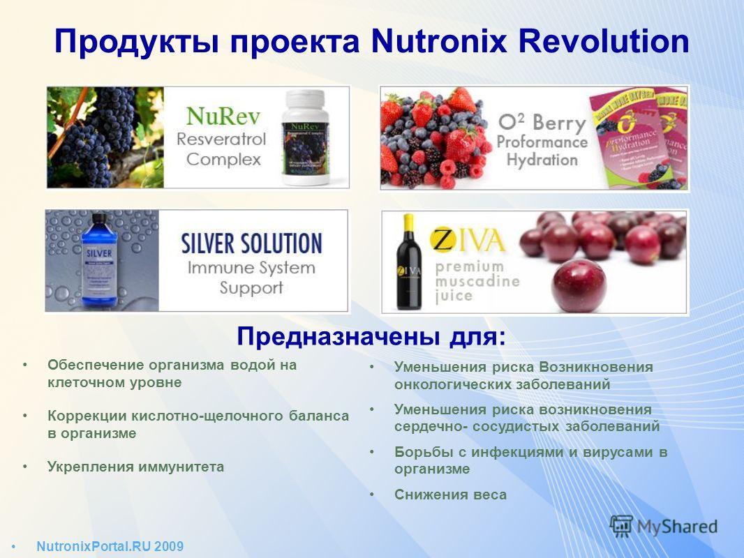 NutronixPortal.RU 2009 Продукты проекта Nutronix Revolution Предназначены для: Обеспечение организма водой на клеточном уровне Коррекции кислотно-щелочного баланса в организме Укрепления иммунитета Уменьшения риска Возникновения онкологических заболе