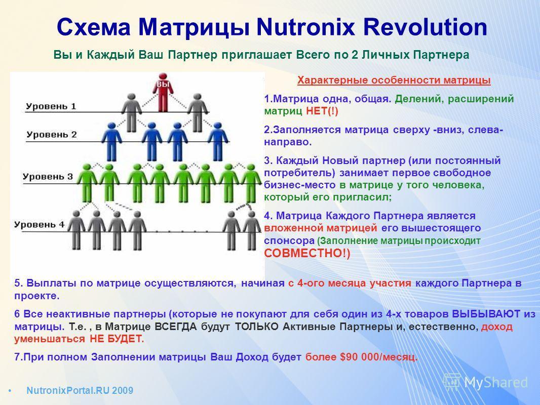 Схема Матрицы Nutronix Revolution Вы и Каждый Ваш Партнер приглашает Всего по 2 Личных Партнера NutronixPortal.RU 2009 Характерные особенности матрицы 1.Матрица одна, общая. Делений, расширений матриц НЕТ(!) 2.Заполняется матрица сверху -вниз, слева-