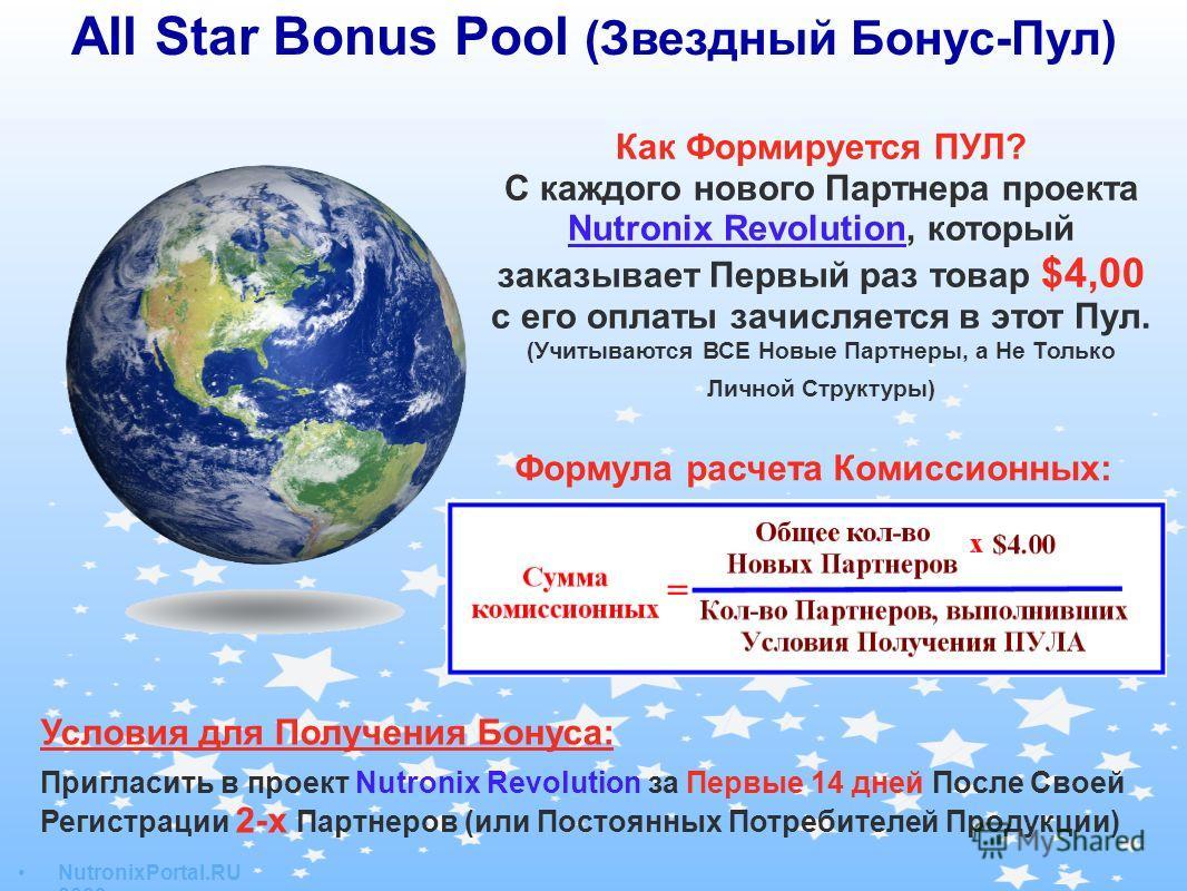 All Star Bonus Pool (Звездный Бонус-Пул) Условия для Получения Бонуса: Пригласить в проект Nutronix Revolution за Первые 14 дней После Своей Регистрации 2-х Партнеров (или Постоянных Потребителей Продукции) Как Формируется ПУЛ? С каждого нового Партн