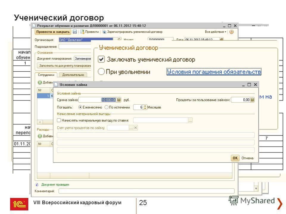 VIII Всероссийский кадровый форум 25 Ученический договор