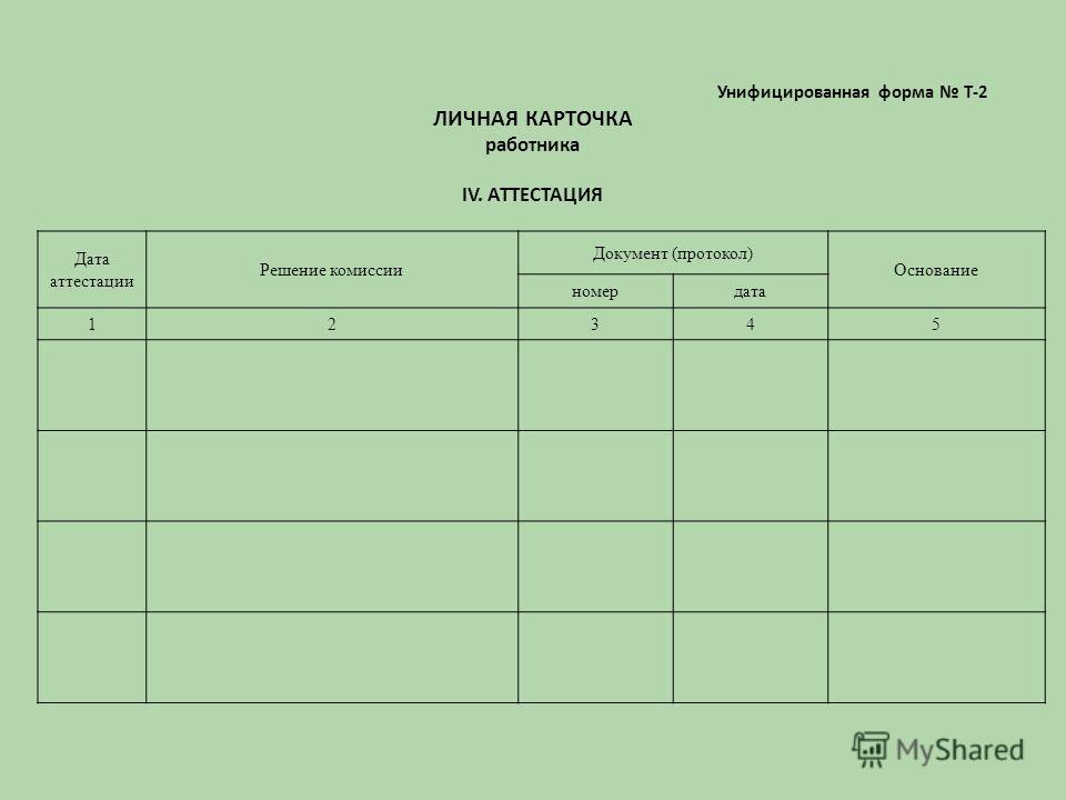 Унифицированная форма Т-2 ЛИЧНАЯ КАРТОЧКА работника IV. АТТЕСТАЦИЯ Дата аттестации Решение комиссии Документ (протокол) Основание номердата 12345