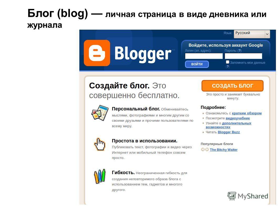 Блог (blog) личная страница в виде дневника или журнала