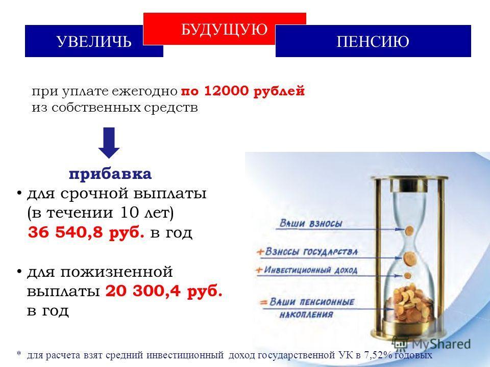 УВЕЛИЧЬ БУДУЩУЮ ПЕНСИЮ при уплате ежегодно по 12000 рублей из собственных средств прибавка для срочной выплаты (в течении 10 лет) 36 540,8 руб. в год для пожизненной выплаты 20 300,4 руб. в год * для расчета взят средний инвестиционный доход государс