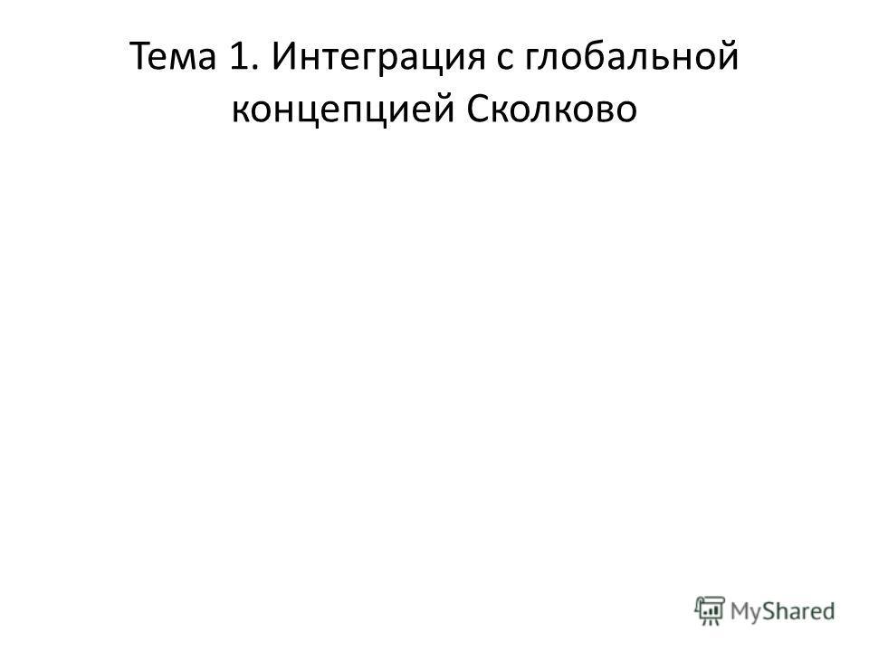 Тема 1. Интеграция с глобальной концепцией Сколково