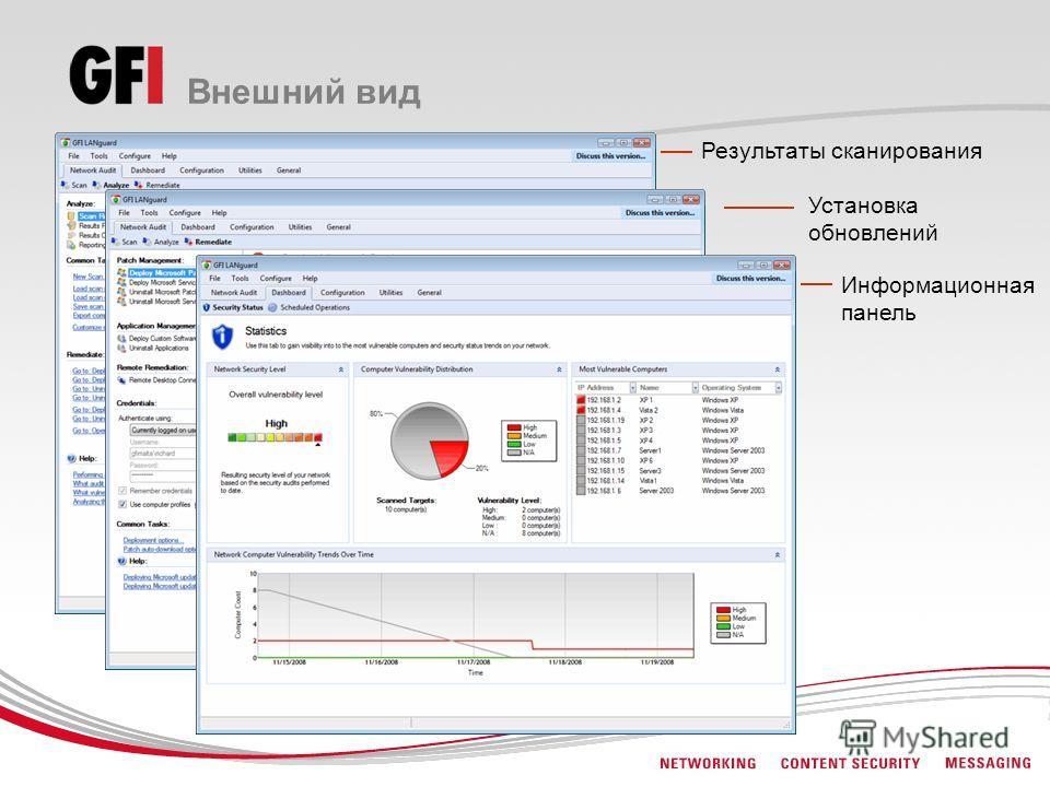 Внешний вид Результаты сканирования Установка обновлений Информационная панель
